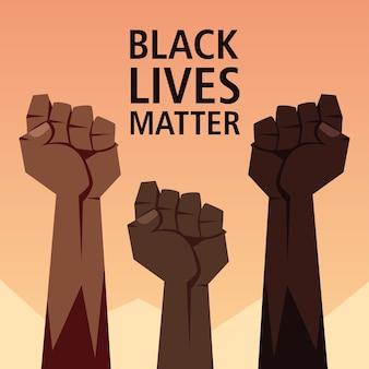Schwarzes leben materie mit fäusten design der protestgerechtigkeit und rassismus thema illustration