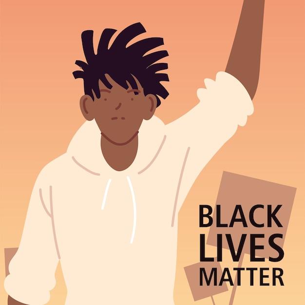 Schwarzes leben materie mit mann cartoon der protest gerechtigkeit und rassismus thema illustration