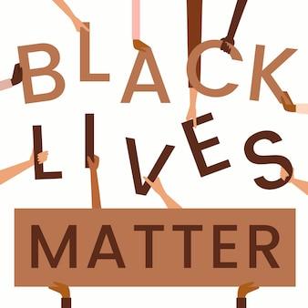 Schwarzes leben materie schriftzug konzept