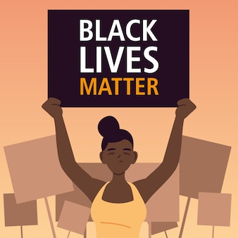 Schwarzes lebensmaterie-banner mit frauenkarikatur der protestgerechtigkeit und der rassismus-themenillustration