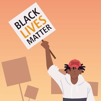 Schwarzes lebensmaterie-banner mit mannkarikatur der protestgerechtigkeit und der rassismus-themenillustration