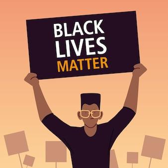Schwarzes lebensmaterie-banner mit mannkarikaturentwurf der protestgerechtigkeit und rassismusthemaillustration