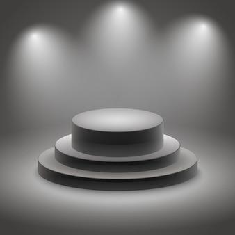 Schwarzes leeres belichtetes podium