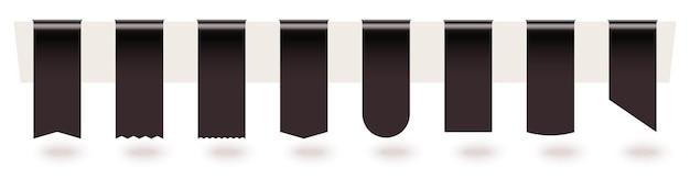 Schwarzes, leeres, gehängtes lesezeichen-seidenetikett mit kopierraum.