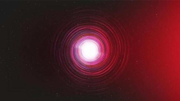 Schwarzes loch auf galaxienhintergrund mit milchstraßenspirale