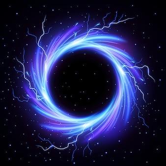 Schwarzes loch vortex mit blitz blitz außerhalb vektor