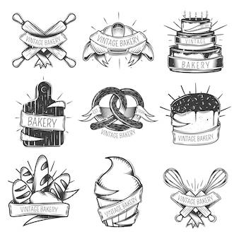 Schwarzes lokalisierte die weinlesebäckereiikone, die mit bändern eingestellt wurde und platz für schlagzeilen vector illustration