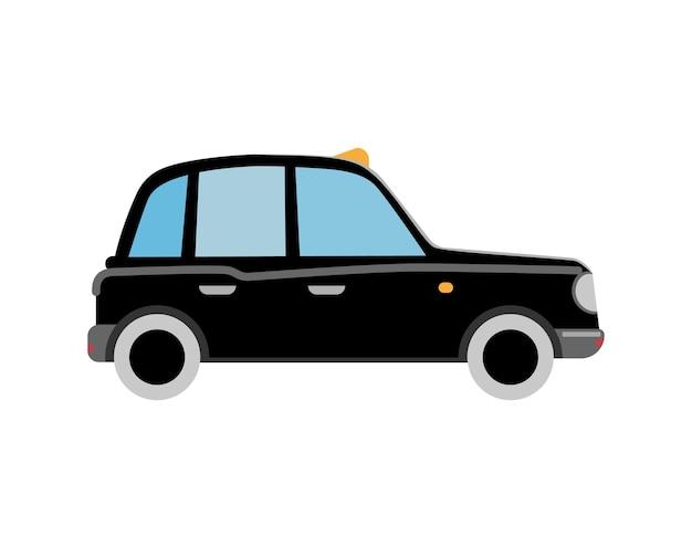Schwarzes londoner taxi. retro-auto. flache vektor-isolierte illustration
