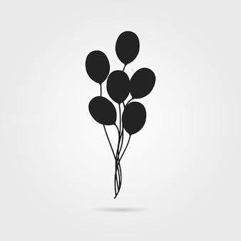Schwarzes luftballonsymbol mit schatten. konzept des valentinstags, erholung, erholungsparkartikel, festival. auf grauem hintergrund isoliert. flacher stil trend moderne logo-design-vektor-illustration