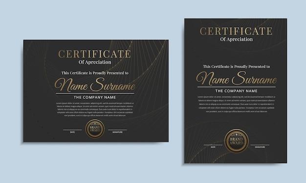Schwarzes luxuszertifikat für das leistungszertifikat mit goldenem auszeichnungsabzeichen
