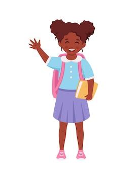 Schwarzes mädchen mit rucksack und buch, das zur schule geht mädchen lächelt und winkt mit der hand