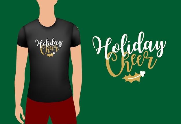 Schwarzes männliches realistisches t-shirt mit aufkleberfeiertagsjubel-abzeichen-weihnachtsemblem auf t-shirt-vektor
