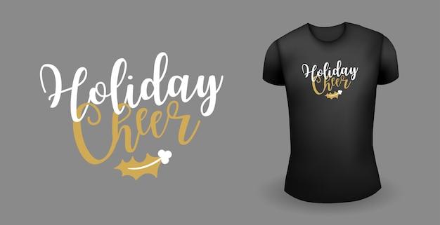 Schwarzes männliches t-shirt mit aufkleberfeiertagsjubel-abzeichenweihnachtsemblemvektor