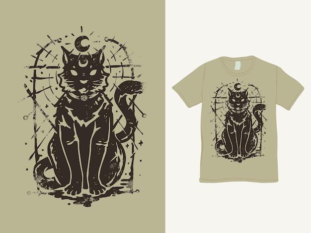 Schwarzes magisches katzenweinlesehemddesign
