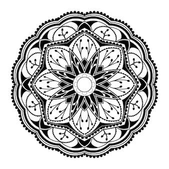 Schwarzes mandalamuster auf weißem hintergrund