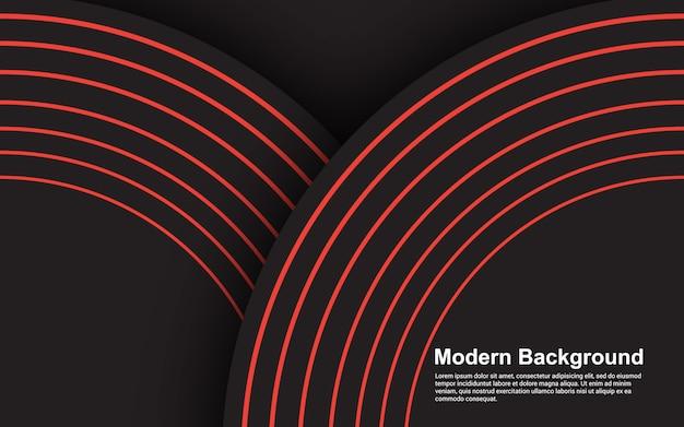 Schwarzes modernes design der abstrakten hintergrundschwarzen und roten linie