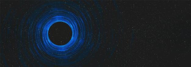 Schwarzes nachtloch auf kosmischem universumhintergrund auf interstellarer galaxie, freier raum für text.