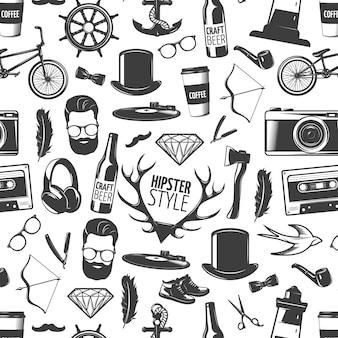 Schwarzes nahtloses muster des hipsters mit isolierten köpfen des mannstils und erkennbarer zubehörvektorillustration