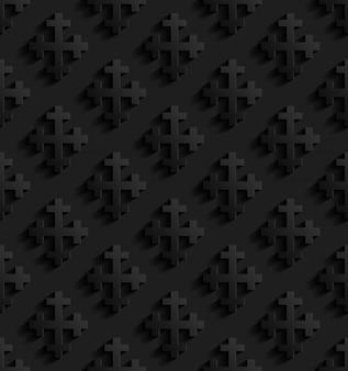 Schwarzes nahtloses muster mit kreuzen
