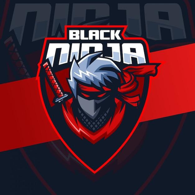 Schwarzes ninja-maskottchen-esport-logo-design