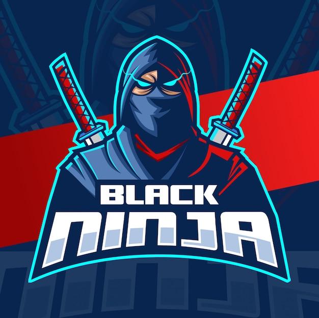 Schwarzes ninja maskottchen esport logo