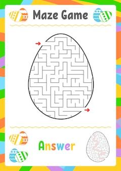 Schwarzes ovales labyrinth. kinderarbeitsblätter. aktivitätsseite. spielrätsel für kinder. ei, feiertag, ostern.