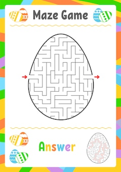 Schwarzes ovales labyrinth. kinderarbeitsblätter. aktivitätsseite.