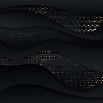 Schwarzes papier mit goldenem glitzer geschnitten