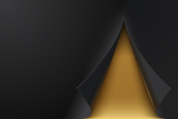Schwarzes papierblatt mit gewellten ecken. gewellte seitenecken mit schatten. buntes vektor-glänzendes papier. rollfalz