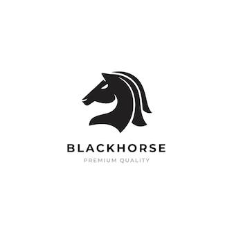 Schwarzes pferd emblem logo.