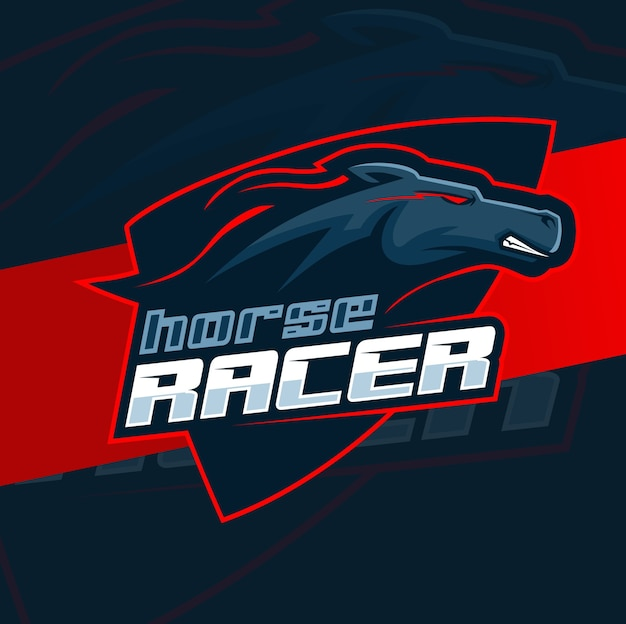 Schwarzes pferd mustang läuft maskottchen logo design