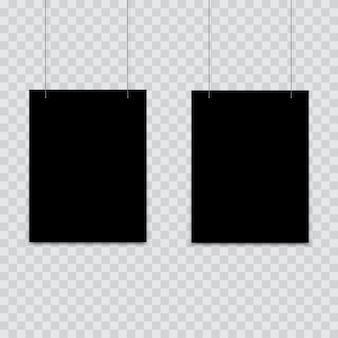Schwarzes plakat, das am binder hängt.