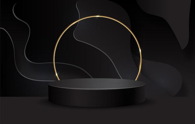Schwarzes podium auf schwarzem hintergrund. realistischer sockel. dunkler hintergrund.