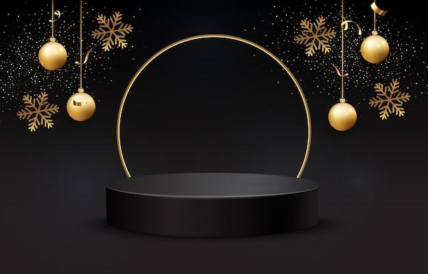 Schwarzes podium für weihnachtsanzeige auf schwarzem hintergrund. realistischer schwarzer sockel auf schwarzem weihnachtshintergrund. dunkler hintergrund