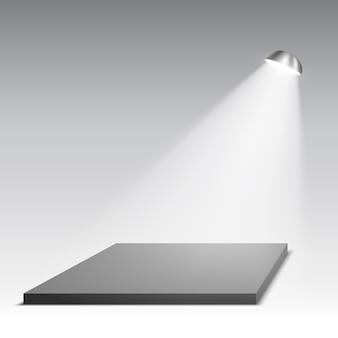 Schwarzes podium mit scheinwerfer. sockel. szene. illustration.