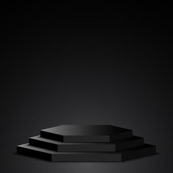 Schwarzes podium. sockel. szene.