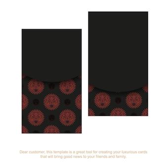 Schwarzes postkartendesign mit maske der götter. vektor-einladungskarte mit platz unter ihrem text und gesicht in polizenischen ornamenten.