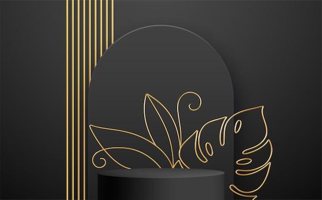 Schwarzes produktpodest mit goldener monstera-blatt-strichzeichnung auf schwarzem hintergrund