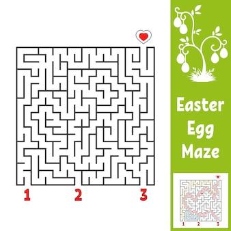 Schwarzes quadratisches labyrinth. kinderarbeitsblätter. aktivitätsseite. spielrätsel für kinder.