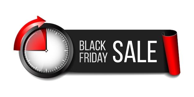 Schwarzes realistisches gebogenes papierfahnenband mit zeitschaltuhr für schwarzen freitag-superverkauf
