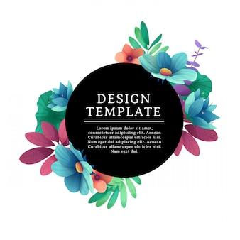 Schwarzes rundes banner mit dem platz für text. karte für individuelle einladung mit blume und kraut. werbeplakat mit sommerpflanzen-, blatt- und blumendekoration auf weißem hintergrund.