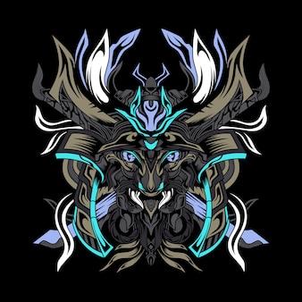 Schwarzes samurai-monster-esport-logo