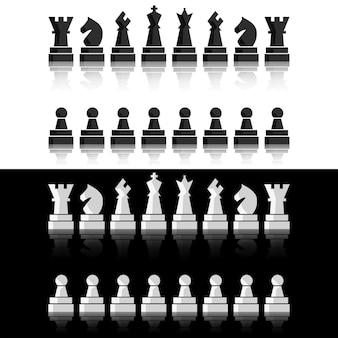 Schwarzes schachspiel. schachbrettfiguren