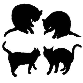 Schwarzes schattenbild der katze seitlich sitzend lokalisiert auf weiß