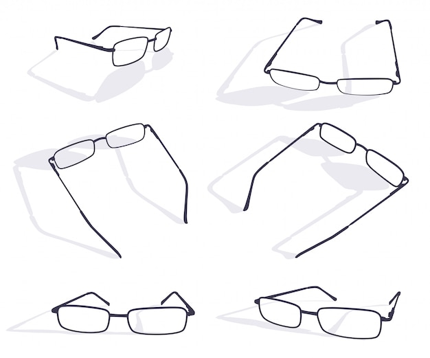 Schwarzes schattenbild des brillenrahmensatzes