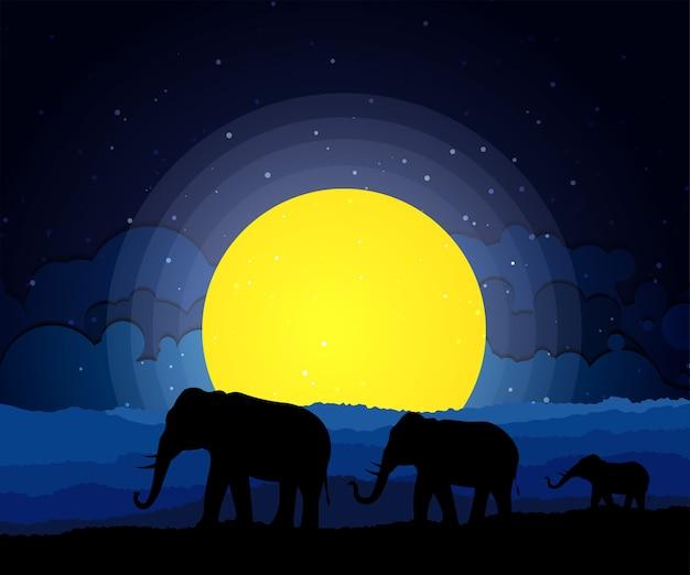 Schwarzes schattenbild des elefanten, wilde natur.