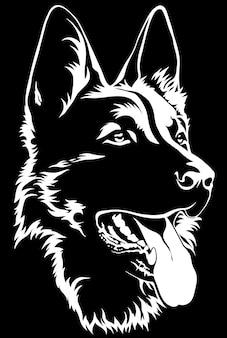 Schwarzes schattenbild eines sitzenden schäferhunds schwarzweiss