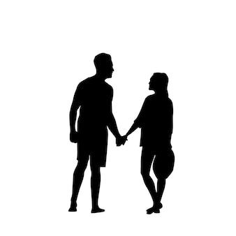 Schwarzes schattenbild-romantisches paar-händchenhalten in voller länge lokalisiert über weißem hintergrund