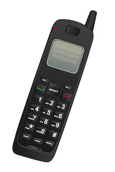Schwarzes schnurloses telefon lokalisiert über weißem hintergrundvektor
