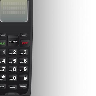Schwarzes schnurloses telefon mit kopienraum-hintergrundvektor